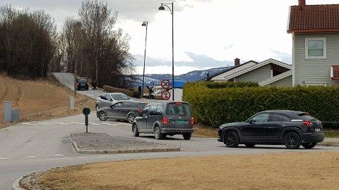 STOPPET BILER: Ganske mange bilister på vei hjem fra påskeferie tar Gamleveien mellom Vik og Kroksund som en snarvei. I dag var det holeværinger som stoppet biler og minnet de på at det er gjennomkjøring forbudt. Dermed måtte de tilbake til E16 igjen.