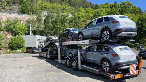 FØRSTE LAST: Første levering av nye Audi Q4 e-tron er allerede i Norge, bare en måned etter verdenspremieren.