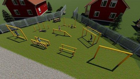 DRØMMEN: Skissen viser hvordan Tina Charlotte Algrøy og naboene håper lekeområdet kan se ut i framtiden.