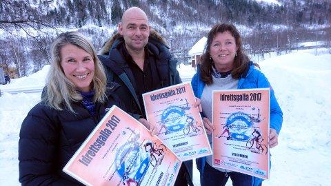 ØNSKER Å SE DEG: Line Birgitte Pedersen, Benny Ofstad og Kari Anne Valsø fra Tinn IL ønsker alle velkommen til den store idrettsfesten lørdag 20.februar.