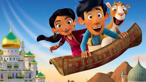 DET FLYGENDE TEPPE: Hodja får et flygende teppe av gamle El Faza, og flyr mot solen, på oppdrag for å bringe tilbake El Fazas unge barnebarn.