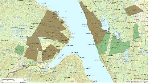 STATEN: De fargelagte eiendommene er teiger eid av Statskog. (Kart: Statskog)