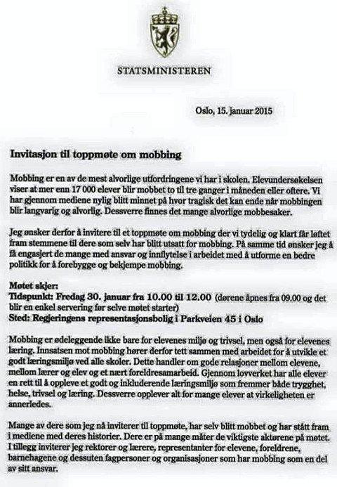 Invitasjonen: Her er invitasjonen fra statsminister Erna Solberg.