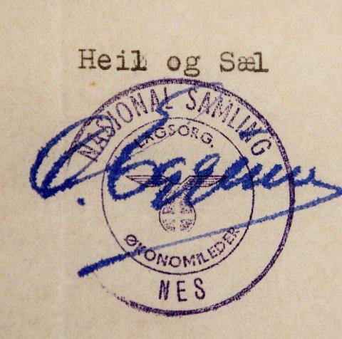 Blant de 70 dekumentene finner jeg en gang Oles signatur på NS-vis.