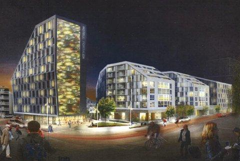 NATTSTEMNING: En perspektiv-tegning, med hotell (til v,) boliger i midten og kontorer til høyre, sett fra torget. ILLLUSTRASJONER: LPO