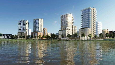 STORSLÅTT: Den nye bydelen ved Nitelva – på grensen mellom Skedsmo og Rælingen – vil er planlagt med høye og lave bygg. Det er tegnet inn elvepromenade, parker og torg. SKISSE: MIR