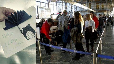 FANT BREV: Et barn la fredag igjen et hjemmelaget kort i sikkerhetskontrollen på Gardermoen. Nå etterlyser flyplassen eieren. FOTO: AVINOR