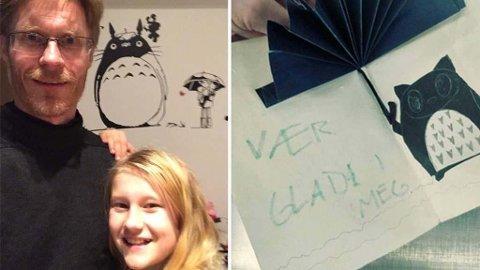 MISTET KORTET FRA DATTEREN: Det var Ellinor (10) som hadde laget og skrevet kortet til pappa Inge Christoffer Olsen på bursdagen hans i sommer. Foto: Privat/Avinor