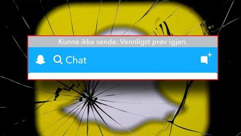 Mange brukere melder om problemer for Snapchat i andre sosiale medier mandag kveld. Foto: Montasje Nettavisen/NTB scanpix