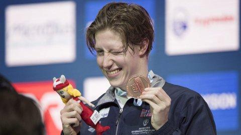 Nye medaljer: Christiansen tok bronse på 400- og 1500 meter fri under kortbane-EM.