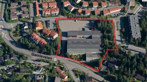 HANSEN & DYSVIK-TOMTA: Illustrasjonen viser utbyggingsområdet sett fra syd med omtrentlig avgrensning. Ill.: Lørenskog kommune