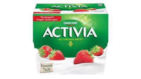 Produsenten Danone tilbakekaller et parti med Activia jordbæryoghurt som kan inneholde plastbiter. Foto: Produsentfoto / NTB scanpix.