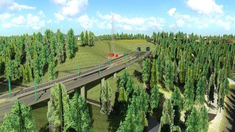 OMFATTENDE: Illustrasjonen viser Ålborgvegen jernbanebru og portalen til Wergelandstunnelen, løsmassetunnelen som blir 380 meter land. Foto: Bane NOR
