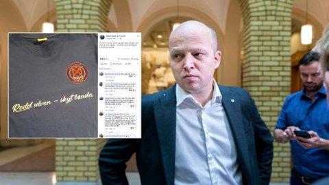 TAR AVSTAND: Sp-leder Trygve Slagsvold Vedum mener Klanens nye t-skjorte er dårlig humor. Foto: Facebook / Skjermdump / Gorm Kallestad / NTB scanpix