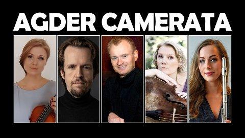 Agder Camerata består av Tora Røstvik, fløyte, Olga Rakvåg, fiolin, Randi Birkeland, cello, Espen Jensen, gitar, Erik Haugan Aasland, piano.