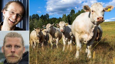 STRIDES OM VEGANERKOSTHOLD: - Redusert husdyrproduksjon vil ha en positiv effekt, det er det ingen tvil om. Men det er forskjell på å barbere seg og på å skjære hodet av seg, sier ernæringsprofessor Birger Svihus ved universitetet på Ås (innfelt øverst). - Feilaktig konklusjon, sier Samuel Rostøl, leder i Norsk Vegansamfunn. Foto: Lise Åserud /NTB Scanpix/Morten Åseng Lauverud/ Universitetet på Ås