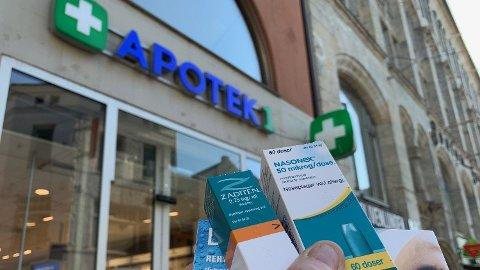 Nettavisens sjefsredaktør Gunnar Stavrum er blant dem som nylig har måttet oppsøke nærmeste apotek for å lindre allergisymptomene. Saltvannsdråper, nesespray og øyedråper kostet ham til sammen 490 kroner. Foto: Gunnar Stavrum