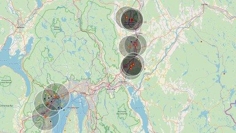 På nettsida lightningmaps kan man følge med på hvor det slår ned på Romerike.