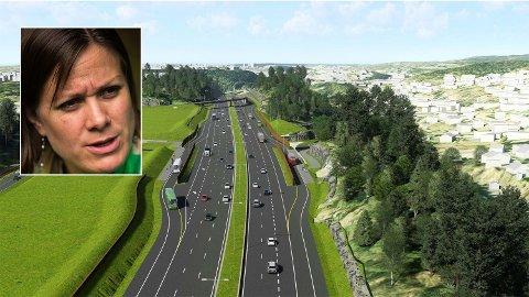 KRIG: Byråd for byutvikling Hanna Marcussen fra MDG (innfelt) går til krig mot motorveien E6 Øst i Oslo. Foto: (Statens vegvesen/Nettavisen)