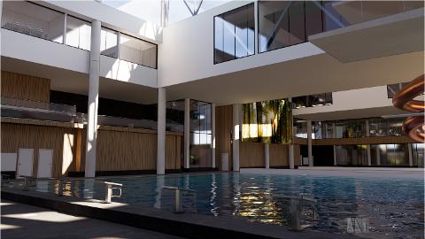 BADELAND: Slik kan det planlagte badelandet se ut innvendig. Olav Thon-gruppen har endret planene for å komme kommunen og svømmeklubber i møte, og har bl.a. lagt inn et 50-meters basseng og 12,5 meter høyt stupetårn.
