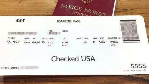 EKSTRA KODE: Her ser du et boardingkort til en SAS-flygning til USA. Koden SSSS er tydelig nederst til høyre.  Foto: (Nettavisen)