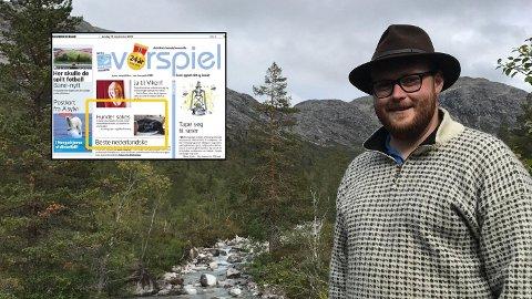 REAGERER: Leder i Aurskog Jeger- og fiskerforening, André Grøtli, synes ingenting om spøken som Romerikes Blad hadde på sine humorsider på lørdag. Foto: Faksimile/privat