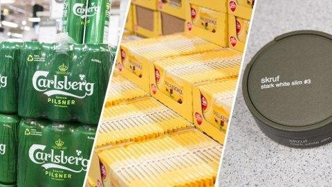 Øl, vin, sjokolade og snus er blant produktene som blir billigere med regjeringens nye statsbudsjett. Foto: NTB/Montasje Nettavisen