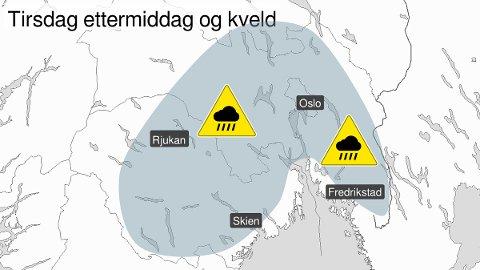 FAREVARSEL: Meteorologisk institutt har sendt ut farevarlsel for store deler av Østlandet.