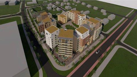 HJØRNEBYGG PÅ NI ETASJER: Bygget på hjørnet av Skårersletta (t.h.) og den nye Garchinggata (t.v.) er redusert til ni etasjer. Da planprosessen startet i 2012, var tegnet inn som et 15-etasjes signalbygg mot Skårersletta. Øverst til venstre av det skisserte kvartalen ligger barnehagen kommunen planlegger langs Garchinggata. Ill.: Felix Arkitekter