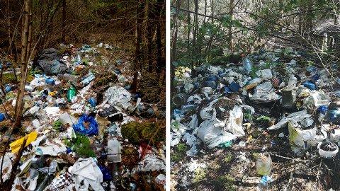 August 2018 og august 2020: Nøyaktig to år har gått og søpla flyter fortsatt på det tidligere bostedet til uteliggeren.