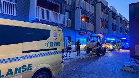 Nødetatene på ulykkesstedet i Lillestrøm.