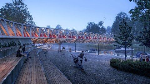 SLIK BLIR BRUA: Denne brua skal gå over Skjærvagapet og videre til den nye planlagte skolen i Skjærvaveien.