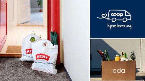 HJEMLEVERING: Skal du bestille dagligvarer hjem på døren er det lurt å være bevisst på hvilken butikk du handler i. Nettavisens pristest viser nemlig store forskjeller. Foto: Meny/Coop/Oda