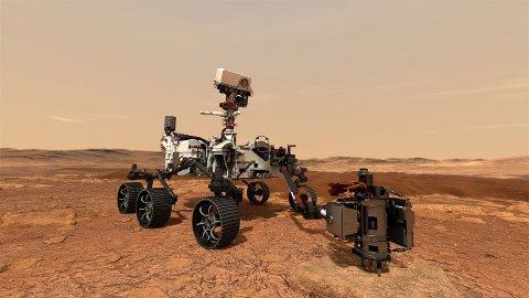 LANDER PÅ MARS: Nasas nye kjøretøy «Perseverance» lander på Mars torsdag denne uken. Deler av kjøretøyet består av norsk teknologi som er utviklet ved Forsvarets forskningsinstitutt på Kjeller.