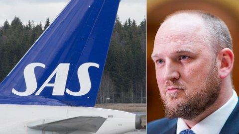 PRISSJOKK: Frps klimapolitiske talsmann Jon Georg Dale mener den kraftige økningen i CO2-avgift vil gi prissjokk på flybilletter. Foto: NTB