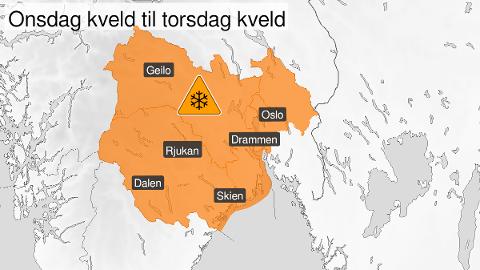 OPPJUSTERT: Varselet for store deler av Østlandet er oppjustert til oransje nivå.