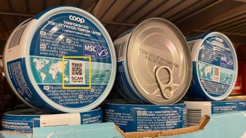 Produktet «Tunfisk i biter» fra Coop har en QR-kode som kan skannes, som gir deg god informasjon om produktet - blant annet hvor fisken er fisket