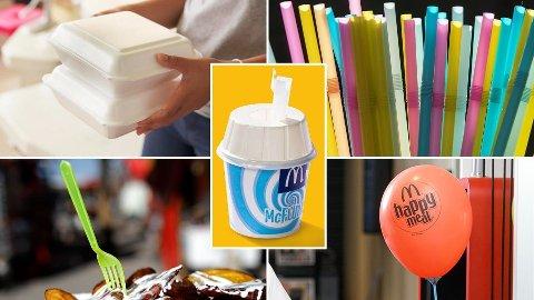FORBUDT: Engangsplast av typen isopor-beholdere, sugerør, rørepinner, bestikk og ballongholdere er forbudt i EU og Norge fra 3. juli. Foto: Montasje