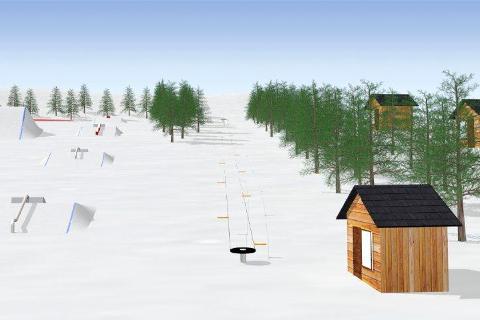 MODERNE: Hvis politikerne i Røyken sier ja i kveld, kan en moderne snøpark i Gleinåsen bli realisert i løpet av nær framtid.Illustrasjoner: REAS