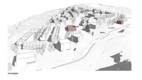 Skisse over planene i Høymyråsen ved Rustadveien.