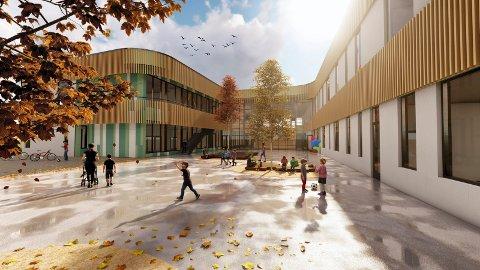 """ÅPNET FOR ANBUD: Nye Torvbråten skole skal på lik linje med Sydskogen bygges som svanemerket passivhus. bygget skla også ha """"blå tak"""". Illustrasjon: Link Arkitektur"""