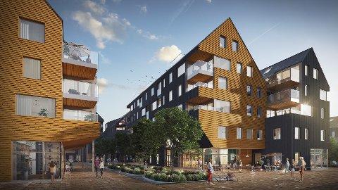 NY BYDEL: Slik ser dert ut på Heggedal Torg i 2022.