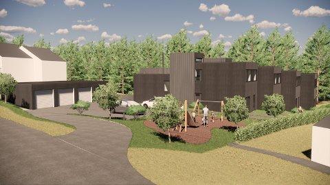 PLANEN: Boxs Arkitekstudieo AS har ventet i et halvt år på tilbakemeldinge fra kommunen på forslag til oppføring av rekkehus i Rødsåslia i Heggedal.