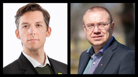 Fylkesråd for kollektiv i Viken, Kristoffer Robin Haug (t.v.) og leder i hovedutvalg for samferdsel, Arve Høiberg.