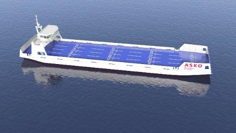 SJØDRONE: Slik kan de førerløse el-lasteskipene bli seende ut. Illustrasjon: Naval Dynamics.