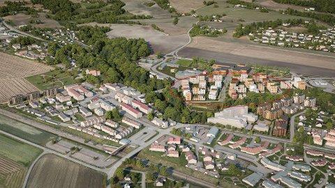 MÅ SIKRES: De planlagte leilighetene på dagens skoletomt (innenfør rød ring) ligger på kvikkleiresone.