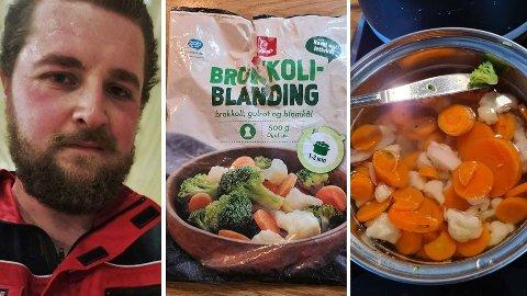 KOMISK: Ola Vang (T.V) synes det var litt komisk at brokkoliblandingen han kjøpte kun hadde en liten brokkolibit inkludert.  Foto: Privat