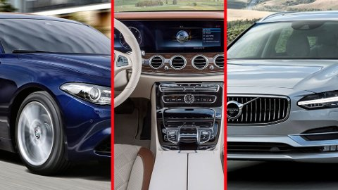 Sju biler står igjen, en av dem skal bli Årets Bil 2017. Her er tre av finalistene. Fra venstre: Alfa Romeo Giulia, Mercedes E-klasse og Volvo V90.