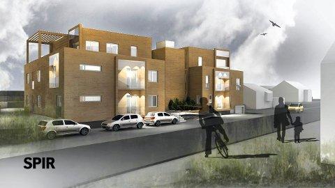 LAVBLOKKER: Omtrent slik vil de to nye leilighetsbyggene i Leikvollgata ta seg ut når de står ferdig sommeren 2019. (Illustrasjon: Spir Arkitekter)