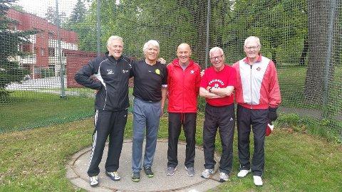 Friidrettsveteranene: Torbjørn Thorland (f.v.), Jostein Myrvang, Ulf Tudem, Brynjar Røgeberg og Kjartan Sølvberg.